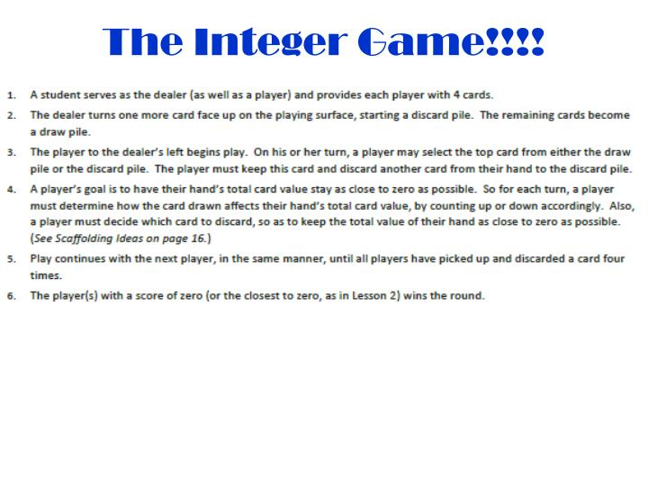 The Integer Game!!!!