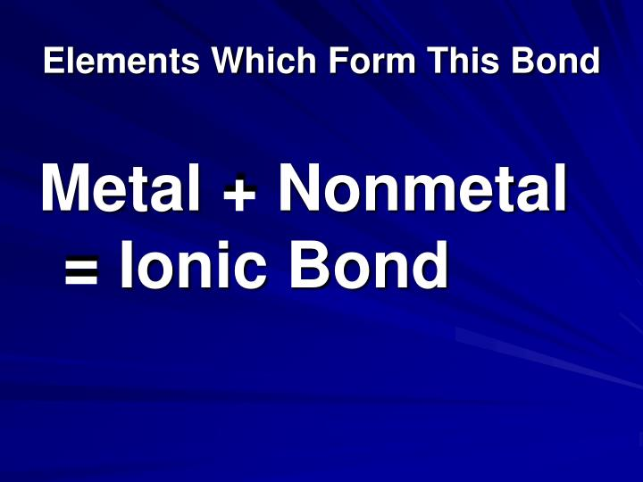 Elements Which Form This Bond