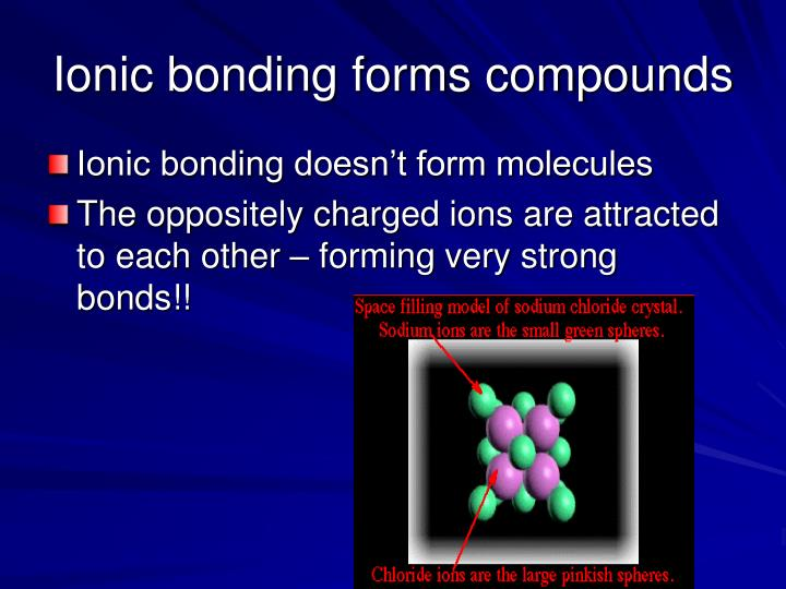 Ionic bonding forms compounds