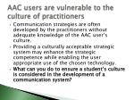 aac users are vulnerable to the culture of practitioners