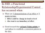 in ssd a functional relationship experimental control has occurred when