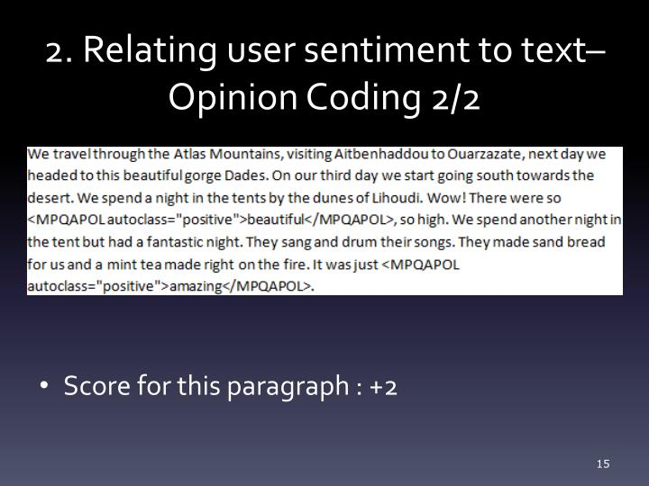 2. Relating user sentiment to text–