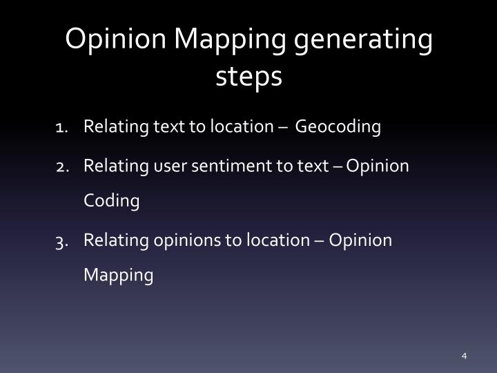 Opinion Mapping generating steps