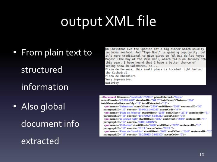output XML file