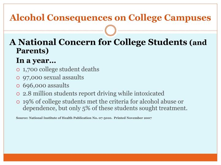 Alcohol consequences on college campuses