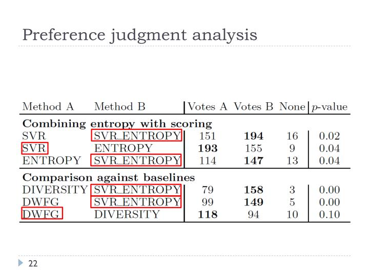 Preference judgment analysis