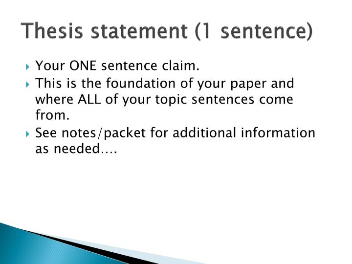 Thesis statement (1 sentence)