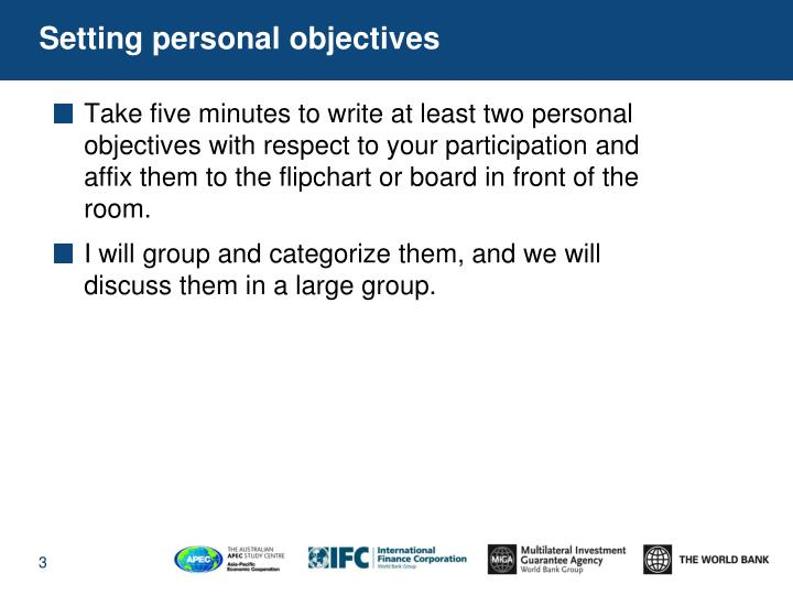 Setting personal objectives