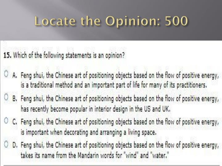 Locate the Opinion: 500