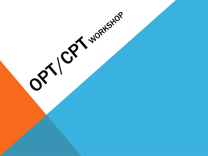 Opt cpt workshop