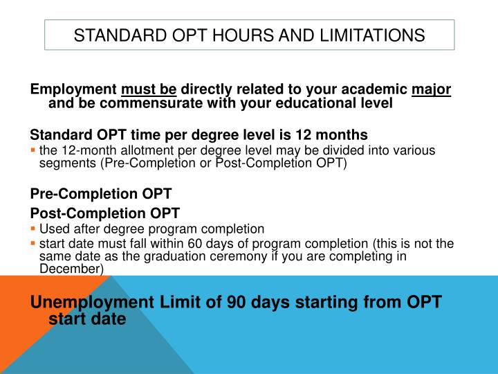 Standard OPT Hours and Limitations