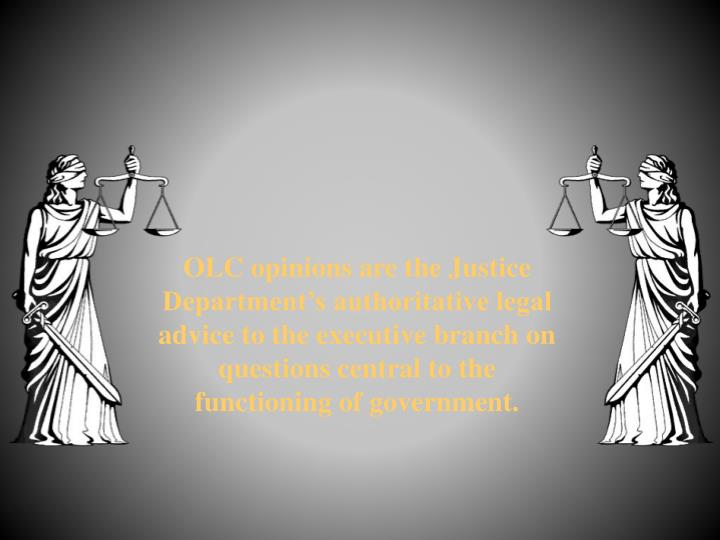 OLC opinions are the Justice Department's authoritative legal advice to the executive branch on questions central to the functioning of government.