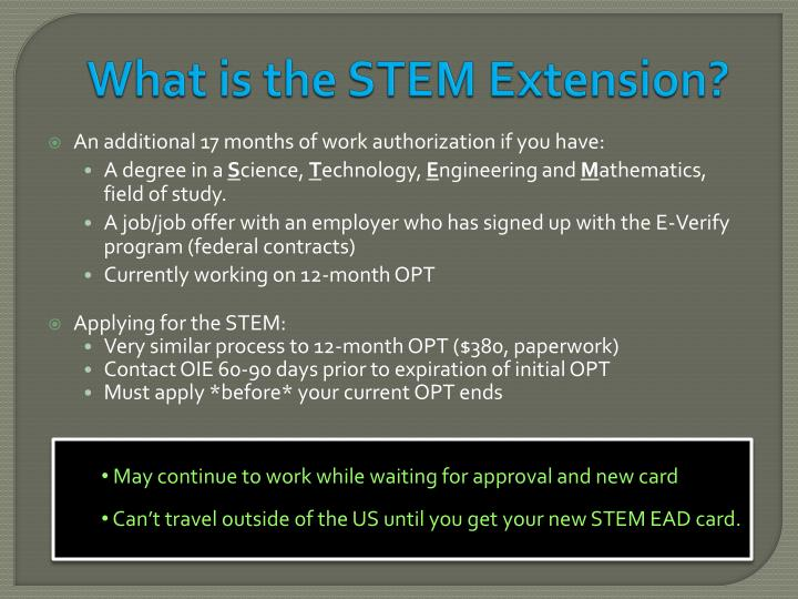 What is the STEM Extension?