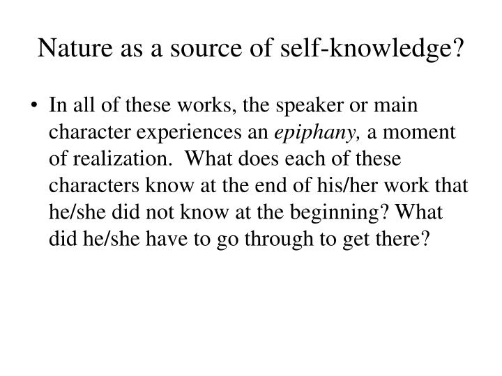 Nature as a source of self-knowledge?
