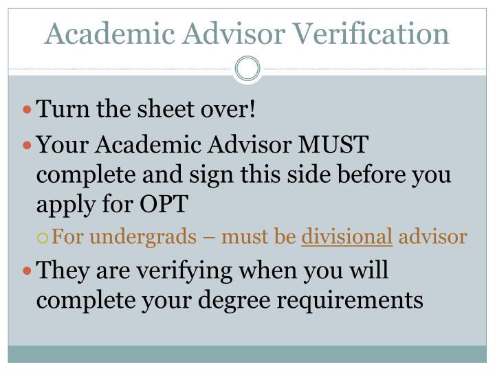 Academic Advisor Verification