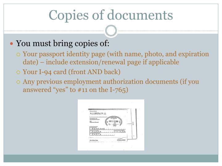 Copies of documents