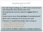 employment on opt