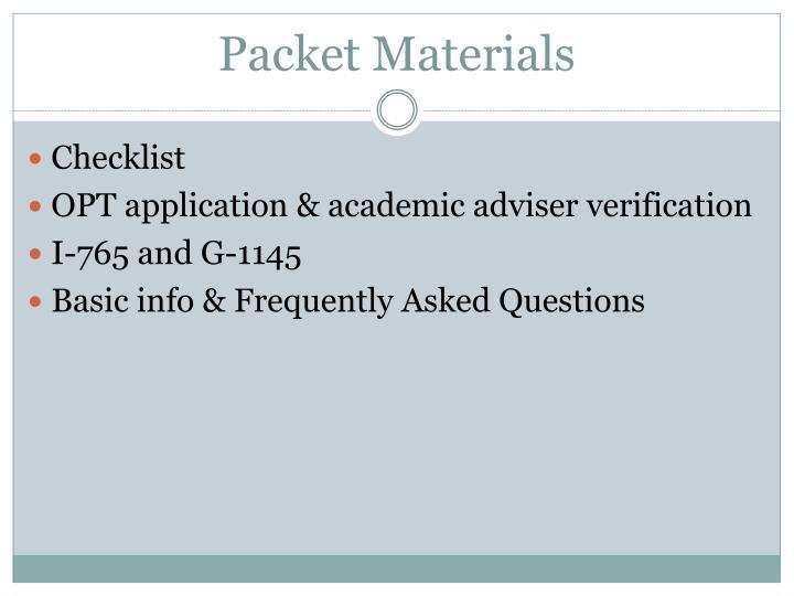 Packet Materials