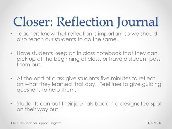 Closer: Reflection Journal