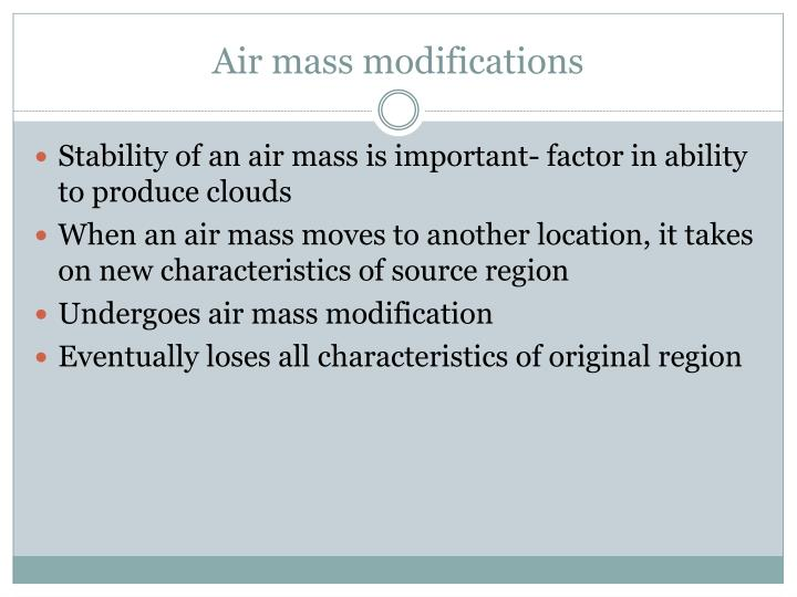 Air mass modifications