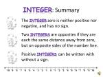 integer summary1