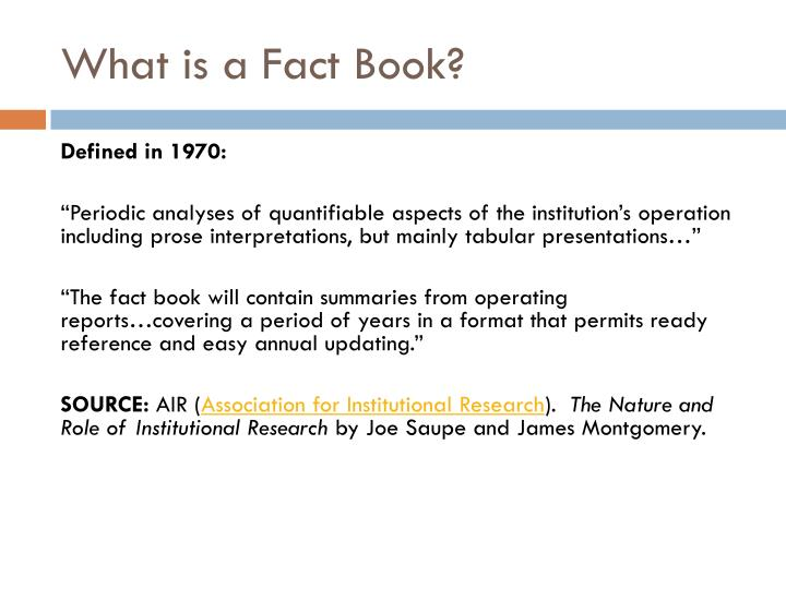 What is a Fact Book?