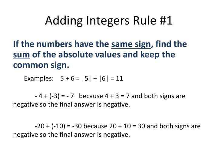 Adding Integers Rule #1