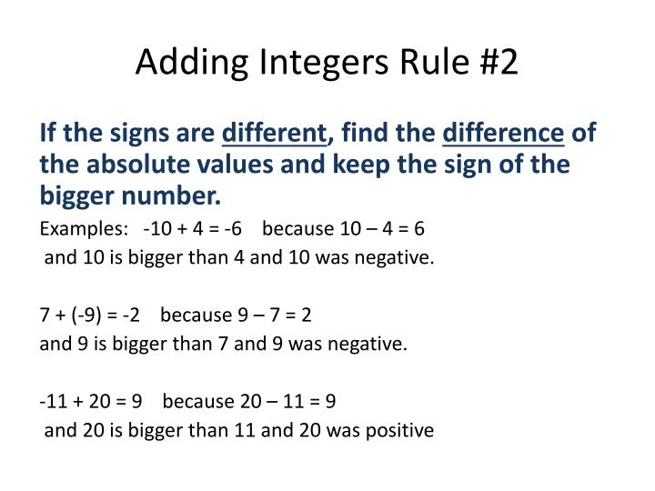 Adding Integers Rule #2