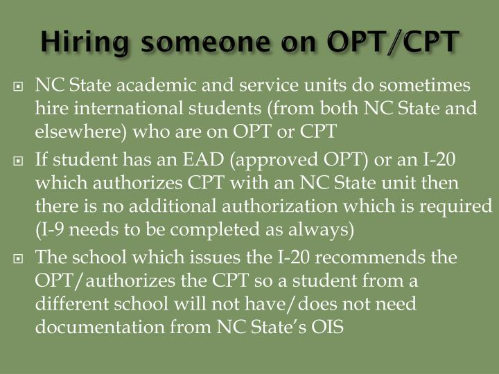 Hiring someone on OPT/CPT