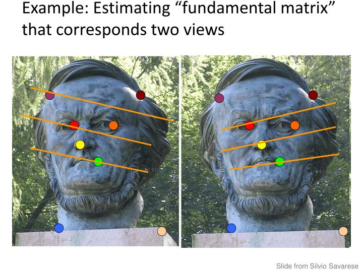 "Example: Estimating ""fundamental matrix"" that corresponds two views"