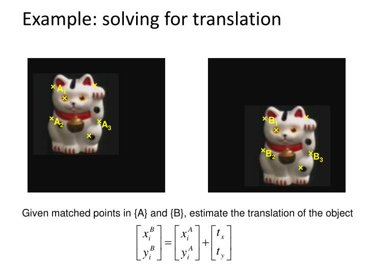 Example: solving for translation