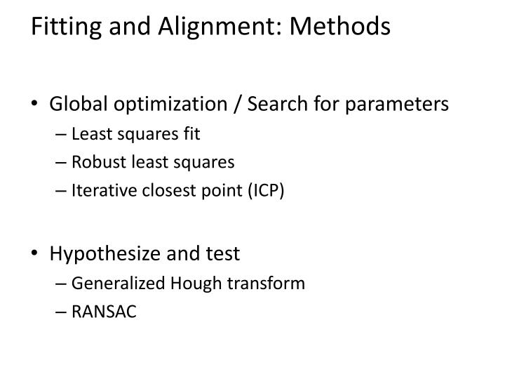 Fitting and Alignment: Methods