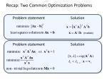 recap two common optimization problems