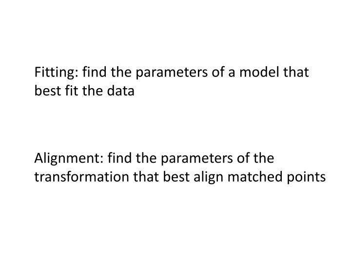 Fitting: find the parameters of a model that best fit the data