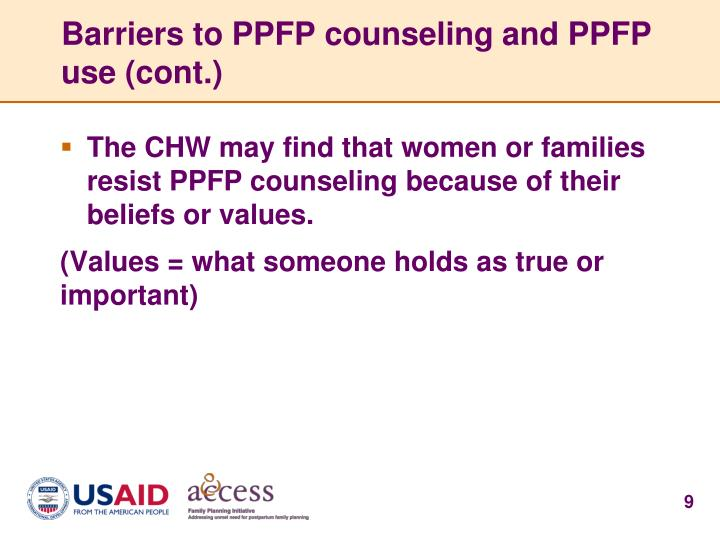Barriers to PPFP counseling and PPFP use (cont.)