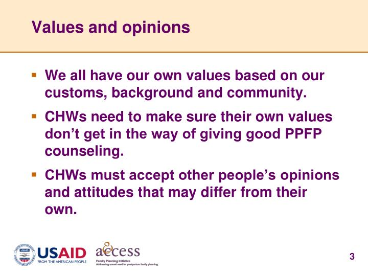 Values and opinions