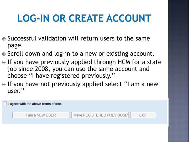 Log-in or create account