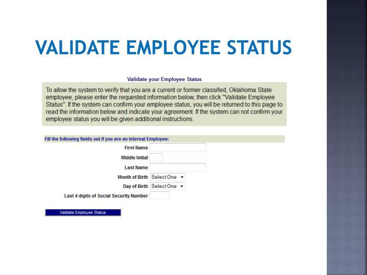 Validate employee status