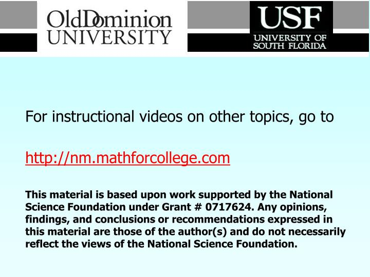 For instructional videos on other topics, go to