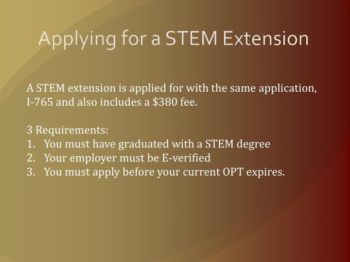 Applying for a STEM Extension