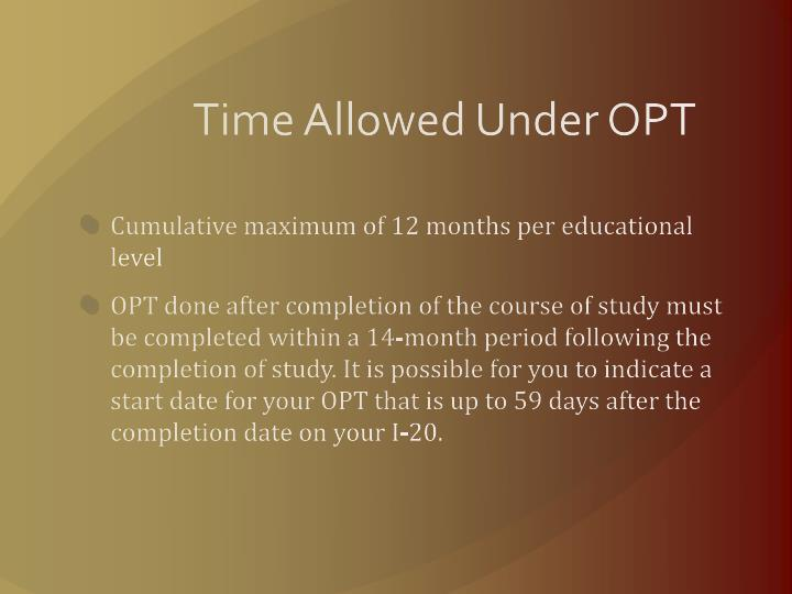 Time Allowed Under OPT