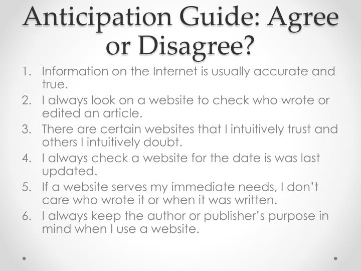 Anticipation Guide: Agree or Disagree?