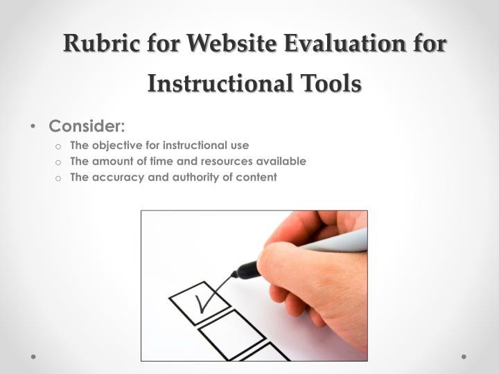 Rubric for Website Evaluation for Instructional