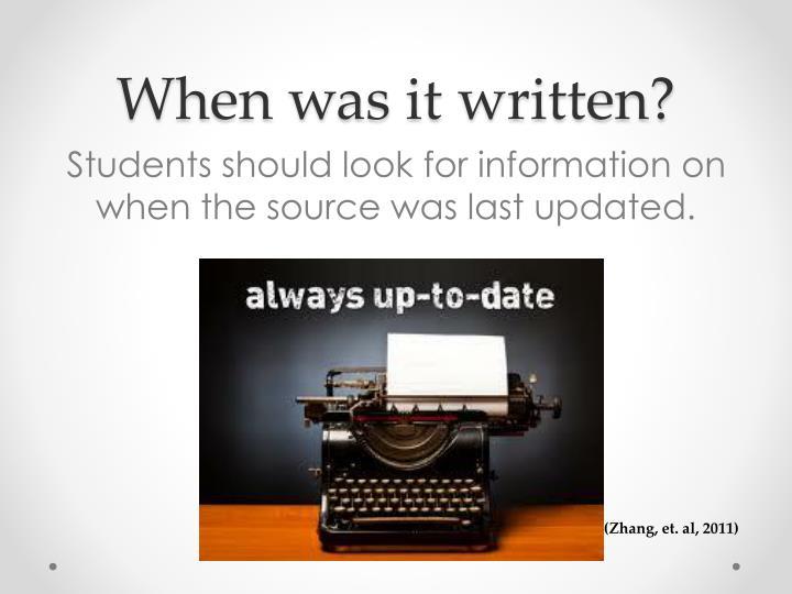 When was it written?