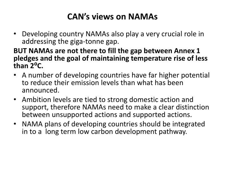 CAN's views on NAMAs