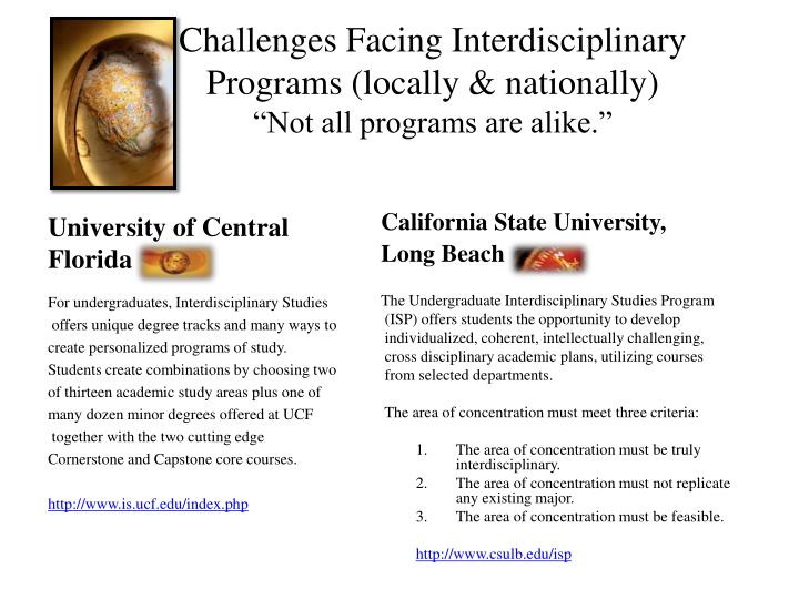 Challenges Facing Interdisciplinary Programs (locally & nationally)