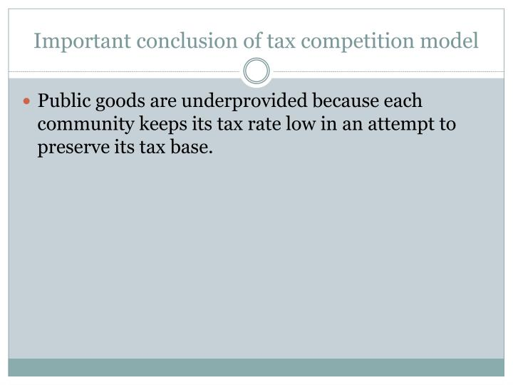 Important conclusion of tax competition model