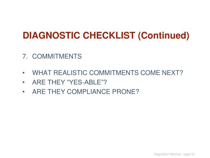 DIAGNOSTIC CHECKLIST (Continued)