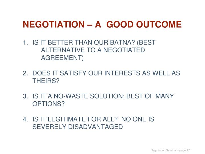 NEGOTIATION – A  GOOD OUTCOME