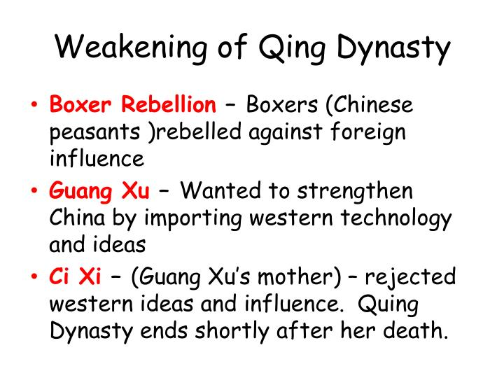 why did qing dynasty fail modernization Our histroy book said that because of qing dynasty's systemthat's truefor their desire to control han people, because they were minoritiesthey were afraid.